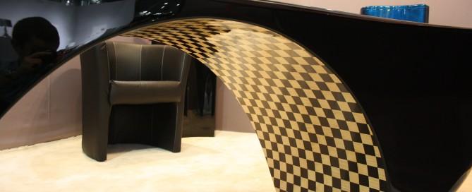 Bureau Design noir laqué + éclairage Leds + marqueterie F-Line Créations - Franck Dalla Santa